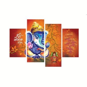 Set of 4 Lord Ganesha Premium Canvas Painting
