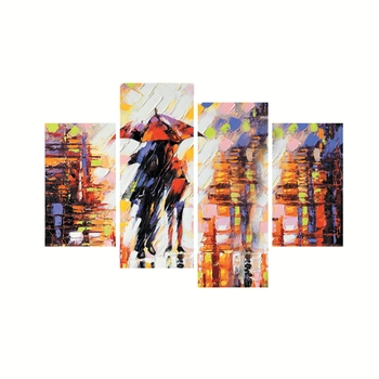 Set of 4 Loving Couple Under Umbrella in rain Premium Canvas Painting
