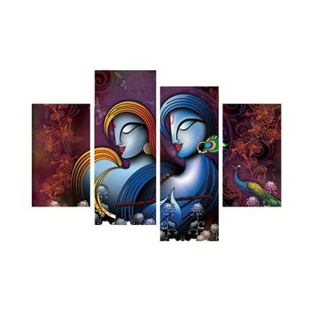 Set of 4 Radha Krishna Premium Canvas Painting