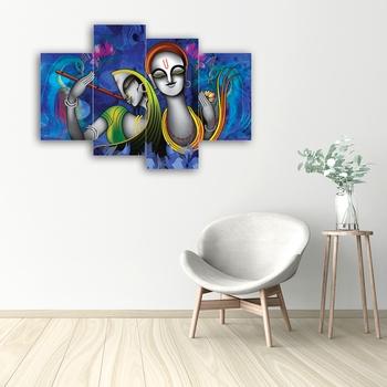Set of 4 Abstract Radha Krishna Premium Canvas Painting