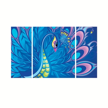 Set of 3 Peacock Theme Premium Canvas Painting
