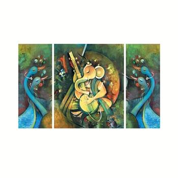 Set of 3 Lord Ganesha Playing Guitar Premium Canvas Painting