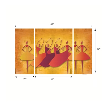 Set of 3 Abstract Dancing Lady Premium Canvas Painting