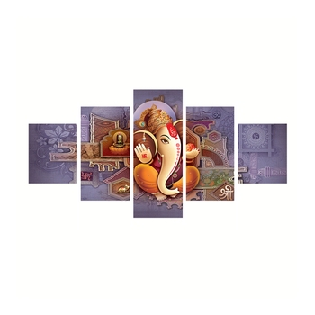 Set of 5 Lord Ganesha Premium Canvas Painting