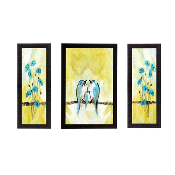 Set of 3 Sitting Birds Satin Matt Texture UV Art Painting