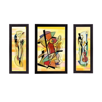 Set of 3 Abstract Object Satin Matt Texture UV Art Painting