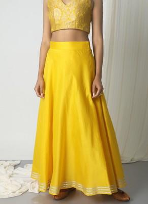 Yellow Chanderi Gota Skirt