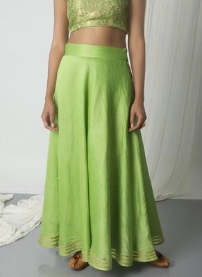 Chartreuse Green Chanderi Gota Skirt
