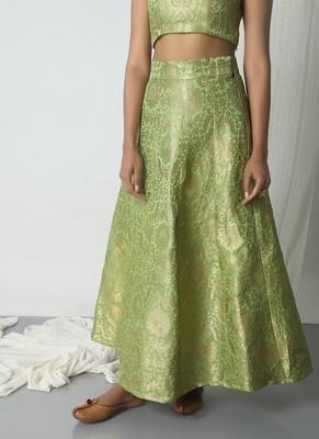 Chartreuse Green Brocade Skirt