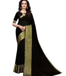 Black Woven Chanderi Silk Saree With Blouse