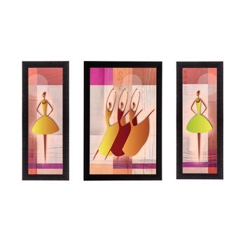 Set of 3 Abstract Dancing Lady Satin Matt Texture UV Art Painting