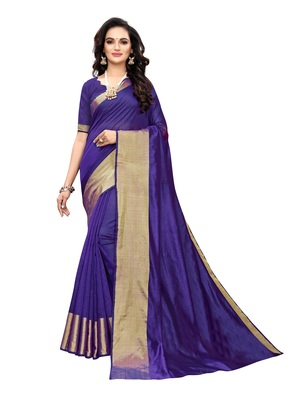 Navy blue woven chanderi silk saree with blouse