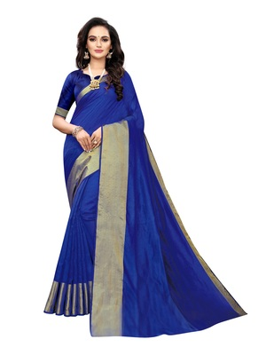 Royal blue woven chanderi silk saree with blouse