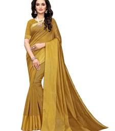 Yellow Woven Chanderi Silk Saree With Blouse