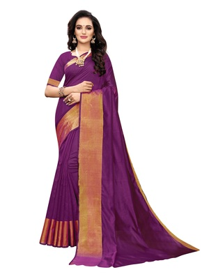 Purple woven chanderi silk saree with blouse
