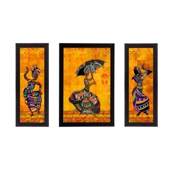 Set of 3 Dancing Lady Satin Matt Texture UV Art Painting