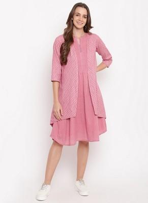 Pink Pin-Tucks Dress Reversible Jacket