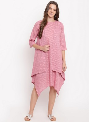 Pink Dobby Asymmetric Dress Reversible Jacket