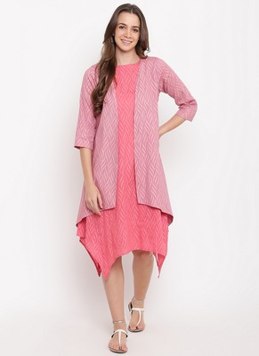 Brick Pink Dobby Asymmetric Dress Reversible Jacket