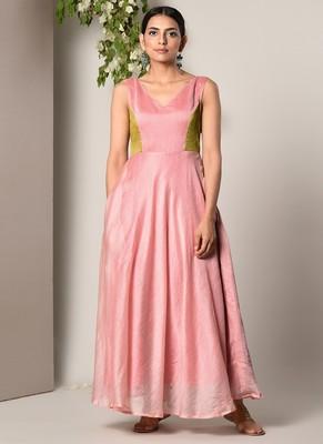 Mud Pink Contrast Yoke Dress
