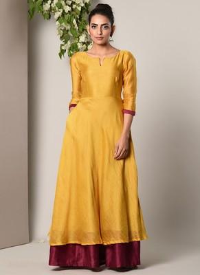 Mustard Yellow Maroon Border Suit Dress