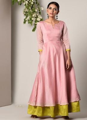 Mud Pink Green Border Suit Dress