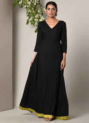 Black Green Border Dress