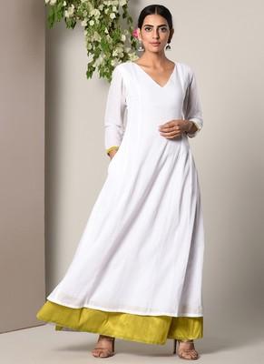 White Green Peek-a-Boo Dress