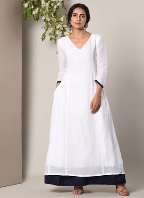 White Blue Peek-a-Boo Dress