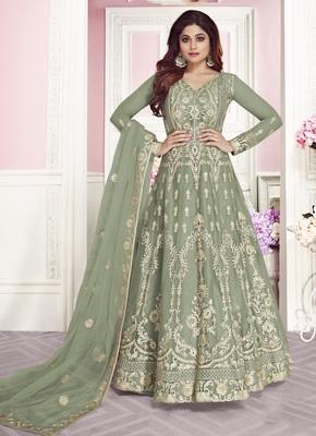 Light-green embroidered net salwar