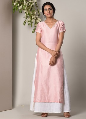 Mud Pink Kurta White Flare Dress