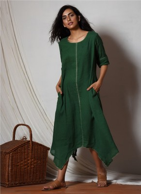 Cocktail Green Flowy Kurta Dress