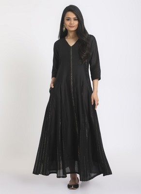 Black Silver Crinkle Panelled Dress
