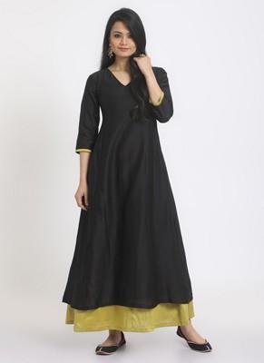 Black Green Border Suit Dress