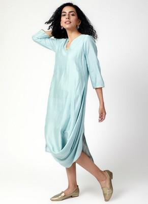 Powder Blue Cowl Dress