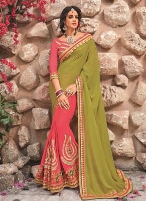 Mehendi embroidered chiffon saree with blouse