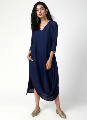 Blue Cowl Dress