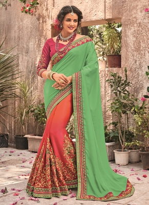 Light green embroidered chiffon saree with blouse