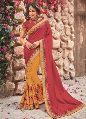 Crimson embroidered chiffon saree with blouse