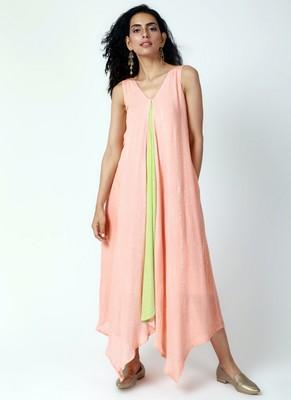 Peach Asymmetric Dress