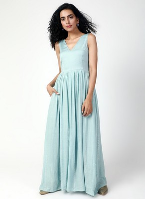 Powder Blue Crinkled Gathered Dress