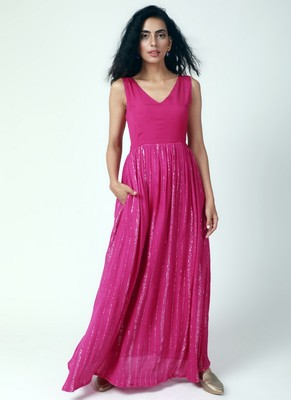 Pink Crinked Gathered Dress