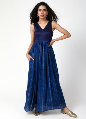 Blue Crinked Gathered Dress