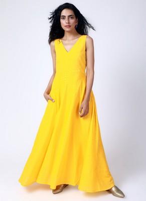 Yellow Silver Zari Dress