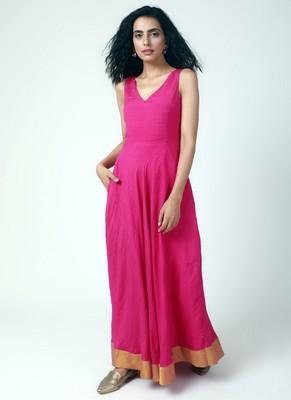 Pink Gold Bordered Dress