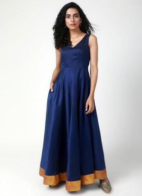 Blue Gold Bordered Dress