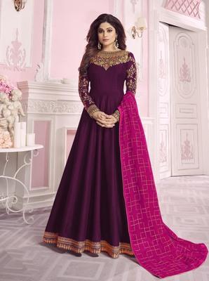 Purple embroidered chanderi silk salwar
