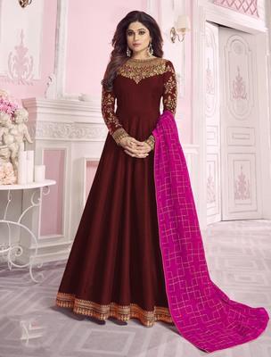 Maroon embroidered chanderi silk salwar