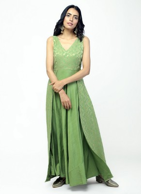 Green Double Flare Dress