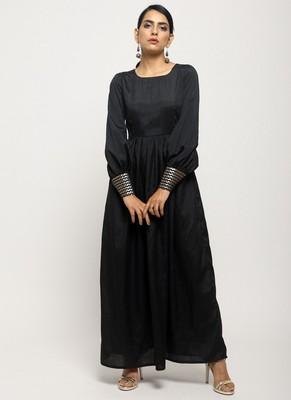 Black Foil Cuff Dress